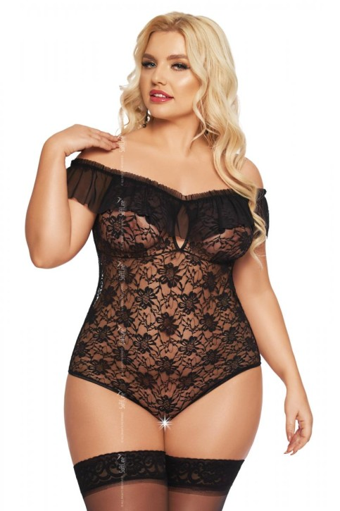 schwarzer Body ouvert 1899 von Softline Plus Size Collection